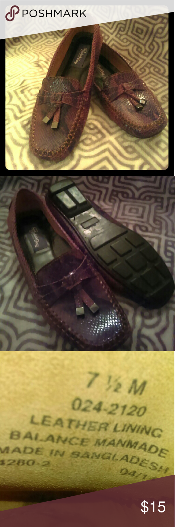 ST John's Bay women's Molly Snakeskin-type Loafers Great condition Women's loafers.  Snakeskin type Leather.  Worn once! These are size 7.5 and have flexible leather siding for all day comfort! St. John's Bay Shoes Flats & Loafers