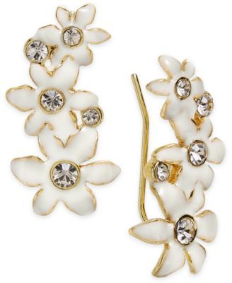 Kate Spade New York Gold Tone Crystal White Flower Ear Climber