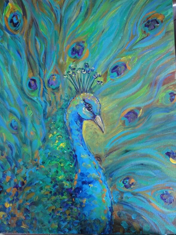 رسم على الكانفس Peacock Painting Art Art Painting