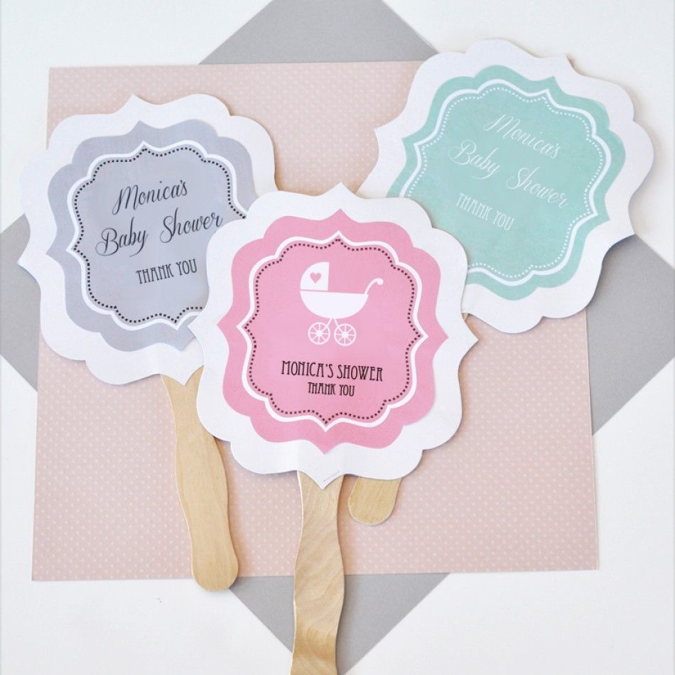 Personalized Paddle Hand Fans - Baby Shower [EB2354B Hand Paddle Fan ...