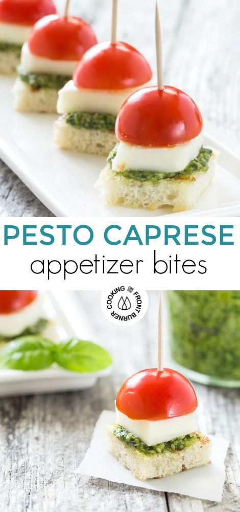 If you are looking for a healthier appetizer serve these easy Caprese Bites with Pesto at your next gathering  You will love the juicy tomatoes tangy mozzarella with...