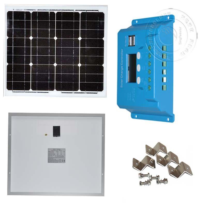 30W 12V Solar System Kit 30 Watt Monocrystalline Solar Panel Battery ...