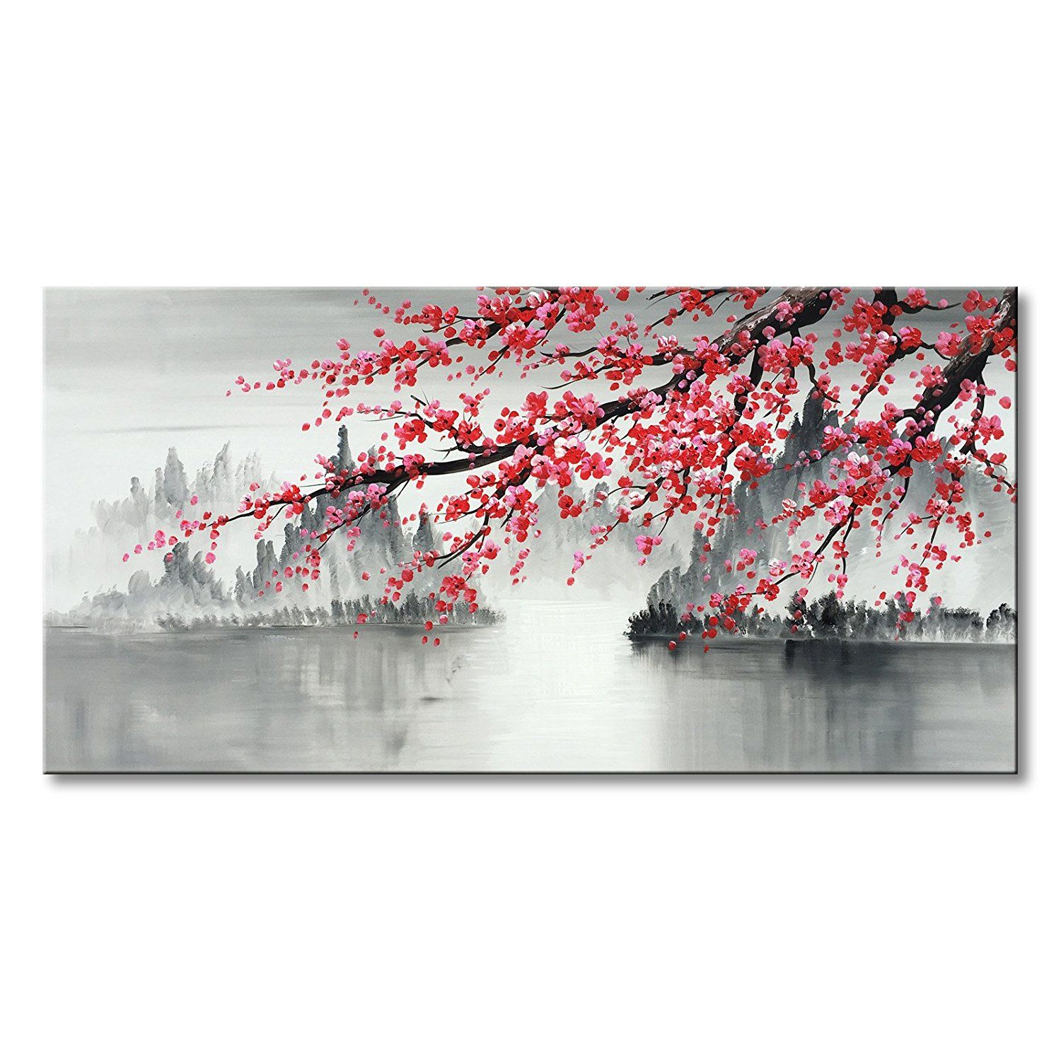 Traditional Chinese Painting Hand Painted Plum Blossom Canvas Wall Art Modern Black And W Cherry Blossom Painting Modern Wall Art Canvas Oil Painting Landscape