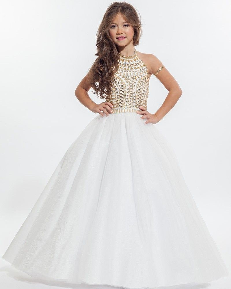 8d2b7386fe2 Wholesale White Halter Flower Girl Dresses 2016 Beautiful Gold Beaded Kids  Pageant Dress Little Girls Wedding Party Ball Gowns online direct from  China ...
