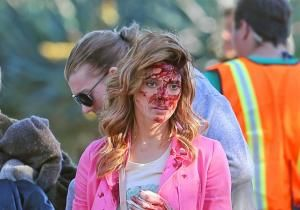 Things are taking a bloody turn for Ashley Greene in her latest movie. The 26-year-old 'Twilight Saga' actress got a dash of crimson for her death scene in 'Burying The Ex,' in which she plays Anton Yelchin's controlling girlfriend, Evelyn.
