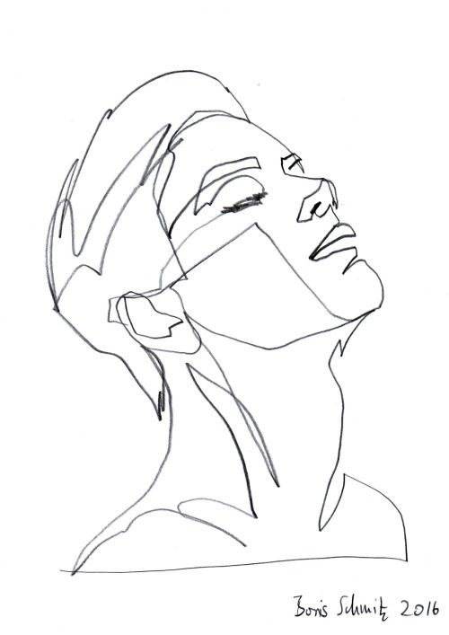 "Contour Line Drawing Person : ""gaze ″ continuous line drawing by boris schmitz a r"