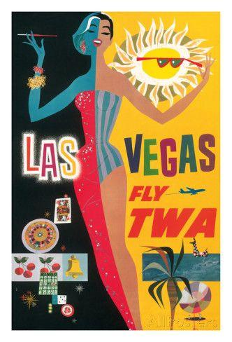 Las Vegas, Nevada - Trans World Airlines Fly TWA, 1958 Giclee-vedos AllPosters.fi-sivustossa