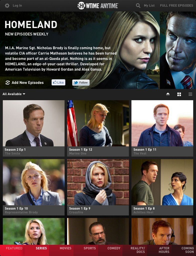 Showtime app Interactive, Showtime, Nicholas brody