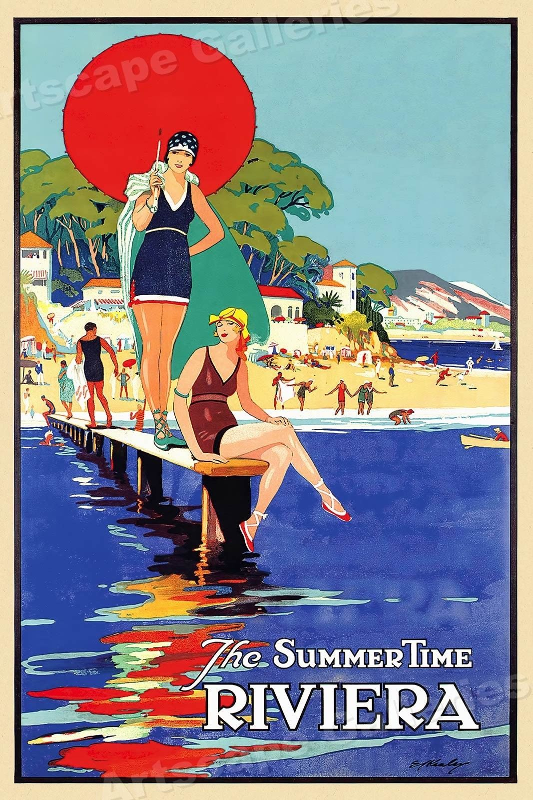 13 56 1930s Summer Time In The Riviera Vintage Style France Travel Poster 20x30 Ebay Collectibles Vintage Travel Posters Travel Posters Vintage Posters