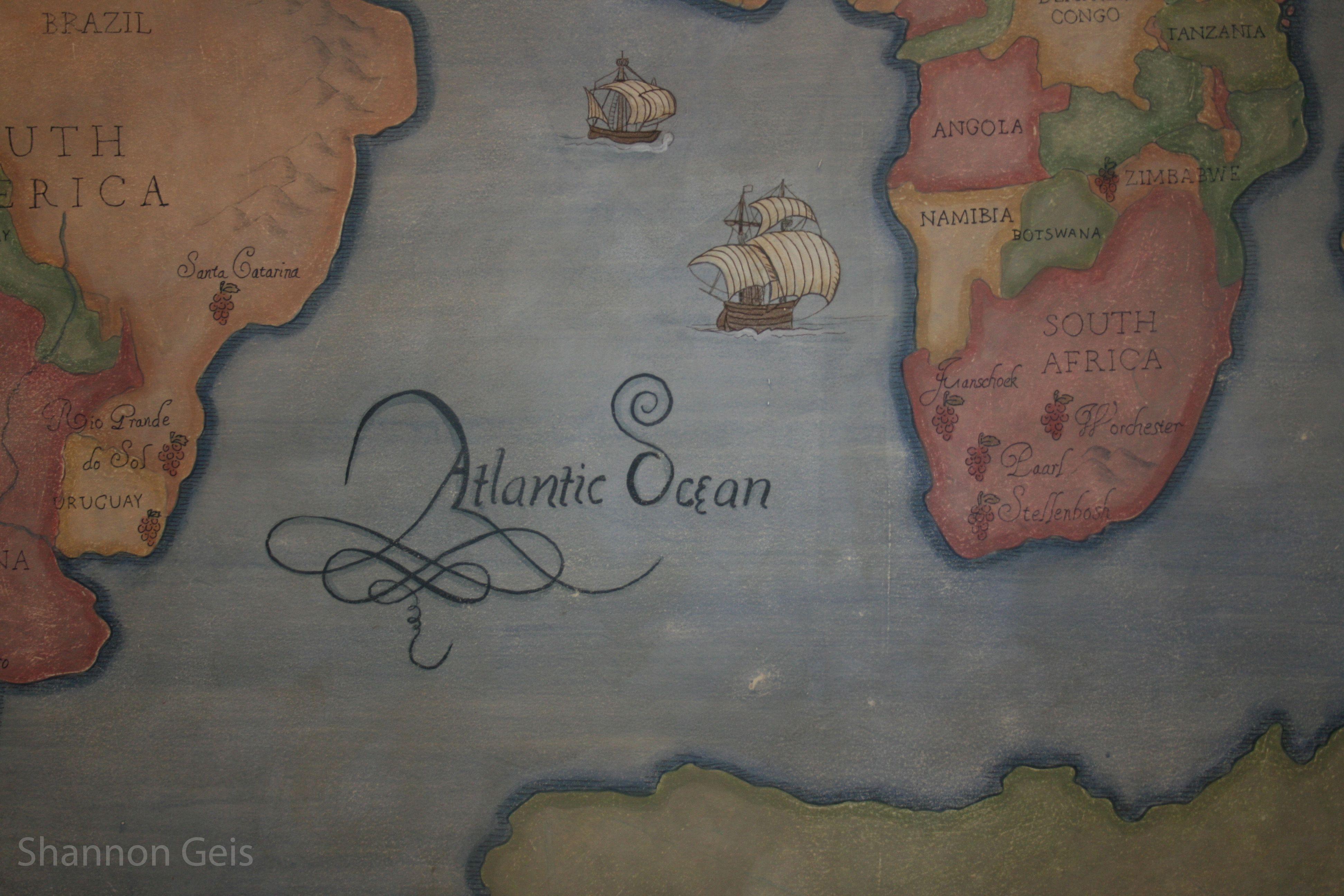 Custom Old world wine map detail that