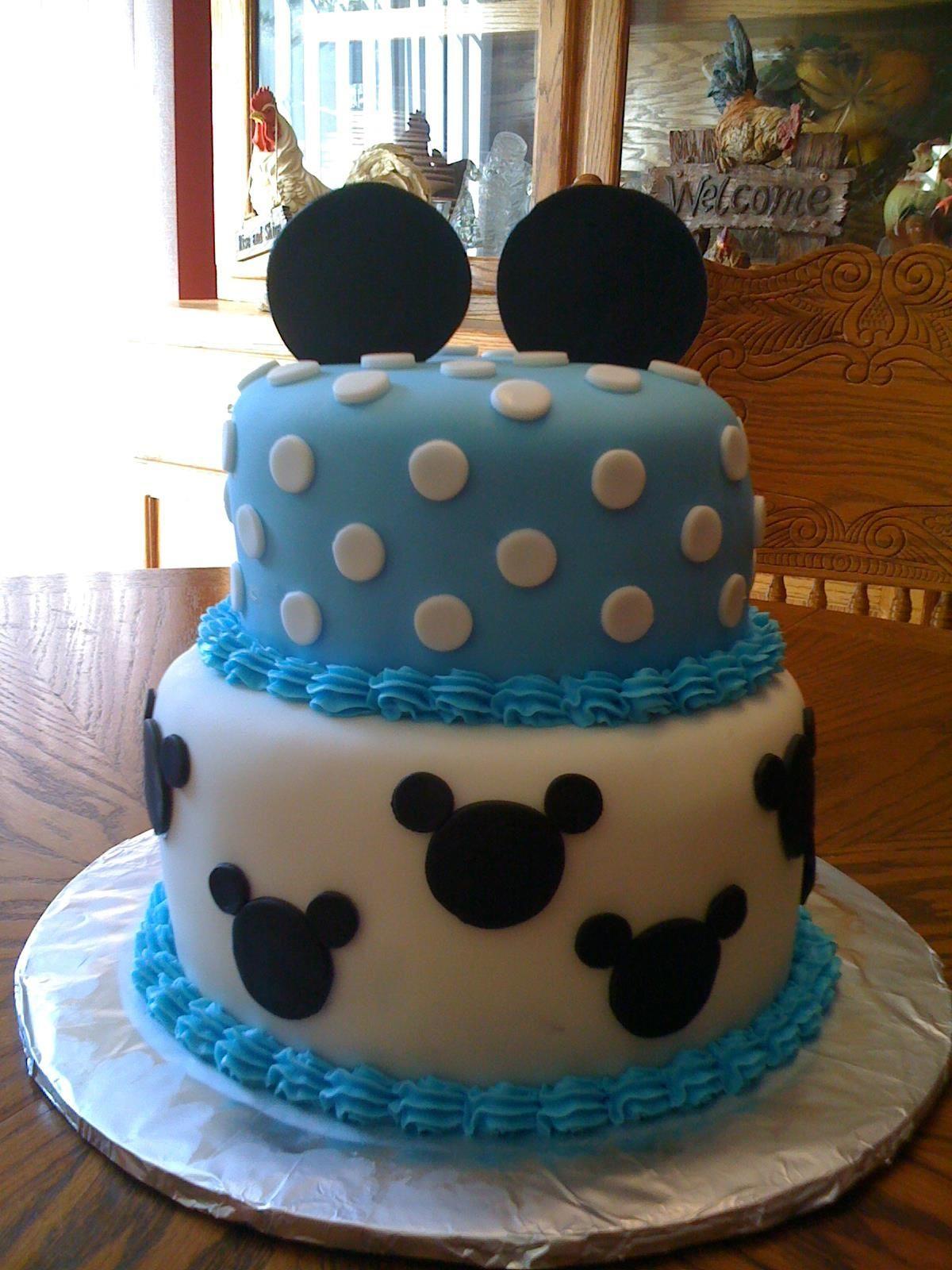 Blue mickey mouse cake Mickey 1st Birthday Pinterest