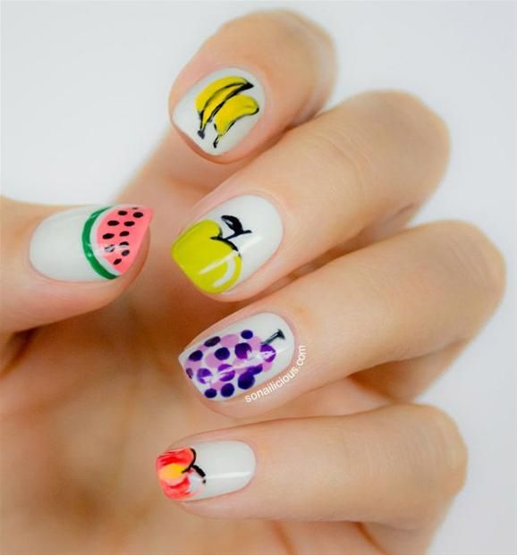 Fruit Nail Art - Head over to Pampadour.com for more fun and cute nail art designs! Pampadour.com is a community of beauty bloggers, professionals, brands and beauty enthusiasts! #nails #nailpolish #polish #nailart #naildesign #cute #fun #pretty #howto #tutorial #beauty #manicure #fruits