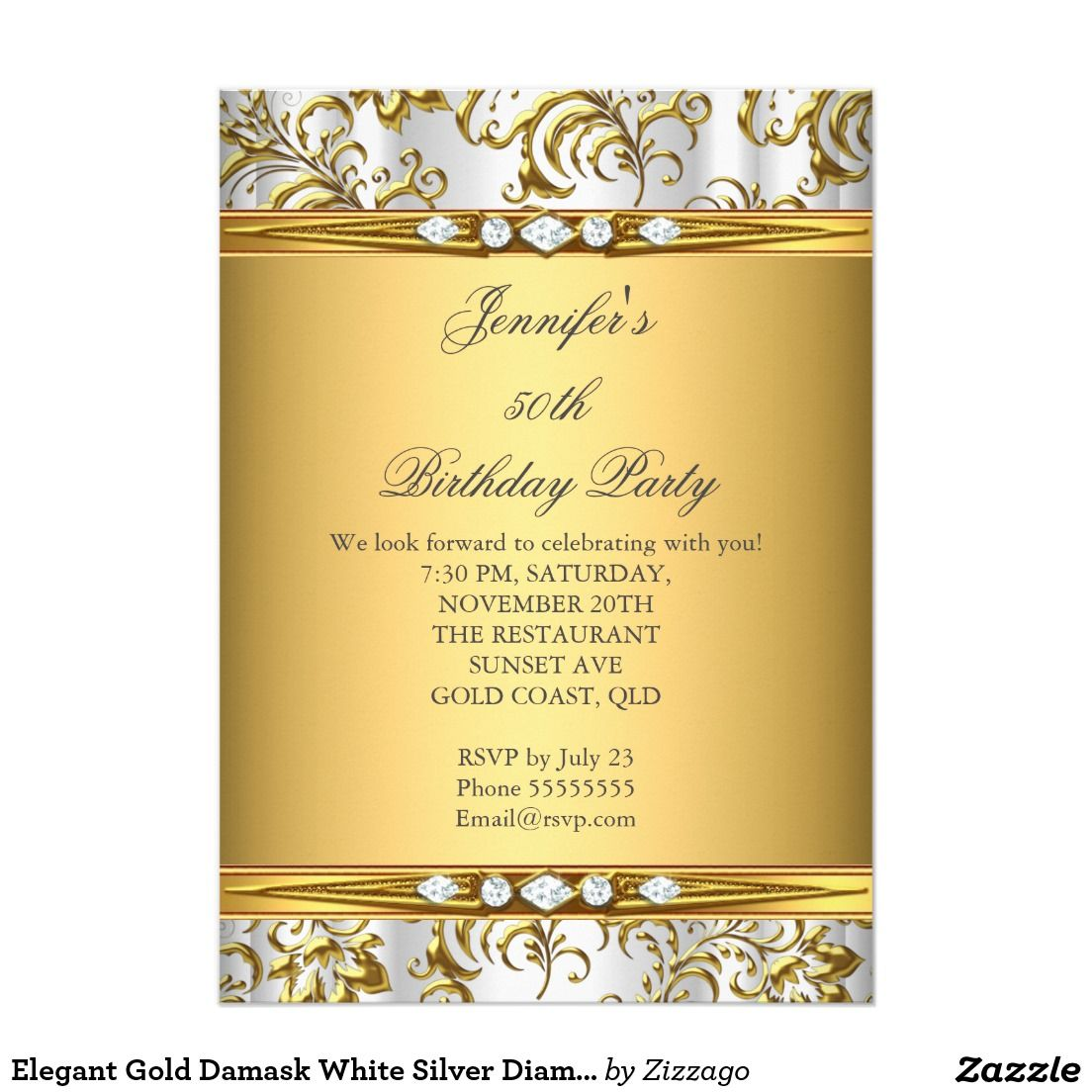 Elegant Gold Damask White Silver Diamond Birthday Card Silver