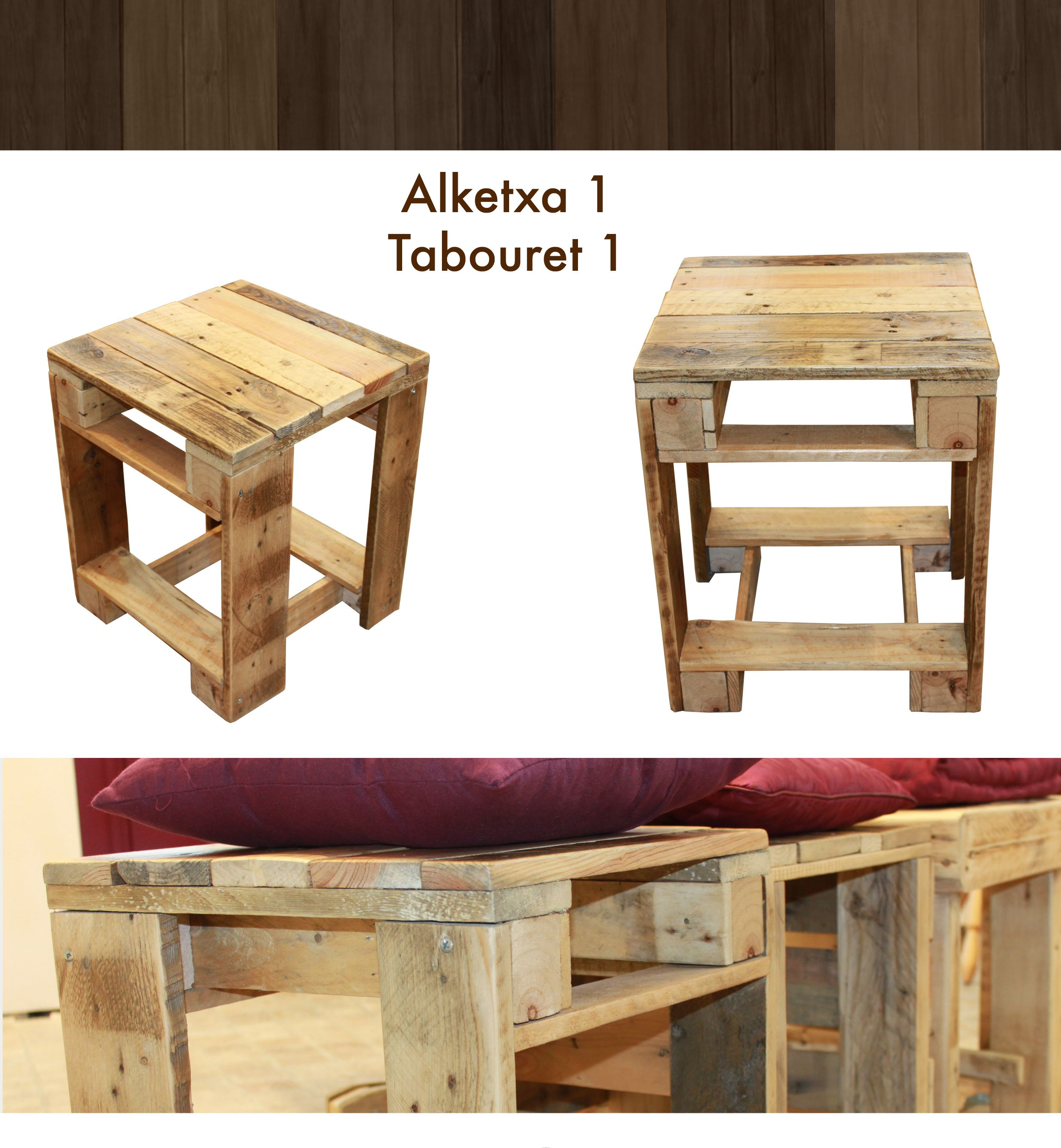 petit tabouret en bois de palette les meubles en palette de martxuka pinterest tables. Black Bedroom Furniture Sets. Home Design Ideas