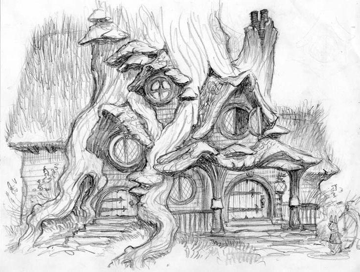 Maison de Hobbit | Coloriages maisons | Pinterest | Duendes, Dibujo ...