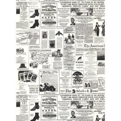 York Wallcoverings Headline News Wallpaper White Black Paper Strippable Roll Covers 56 Sq Ft Kw7620 The Home Depot Newspaper Wallpaper Print Wallpaper New Wallpaper