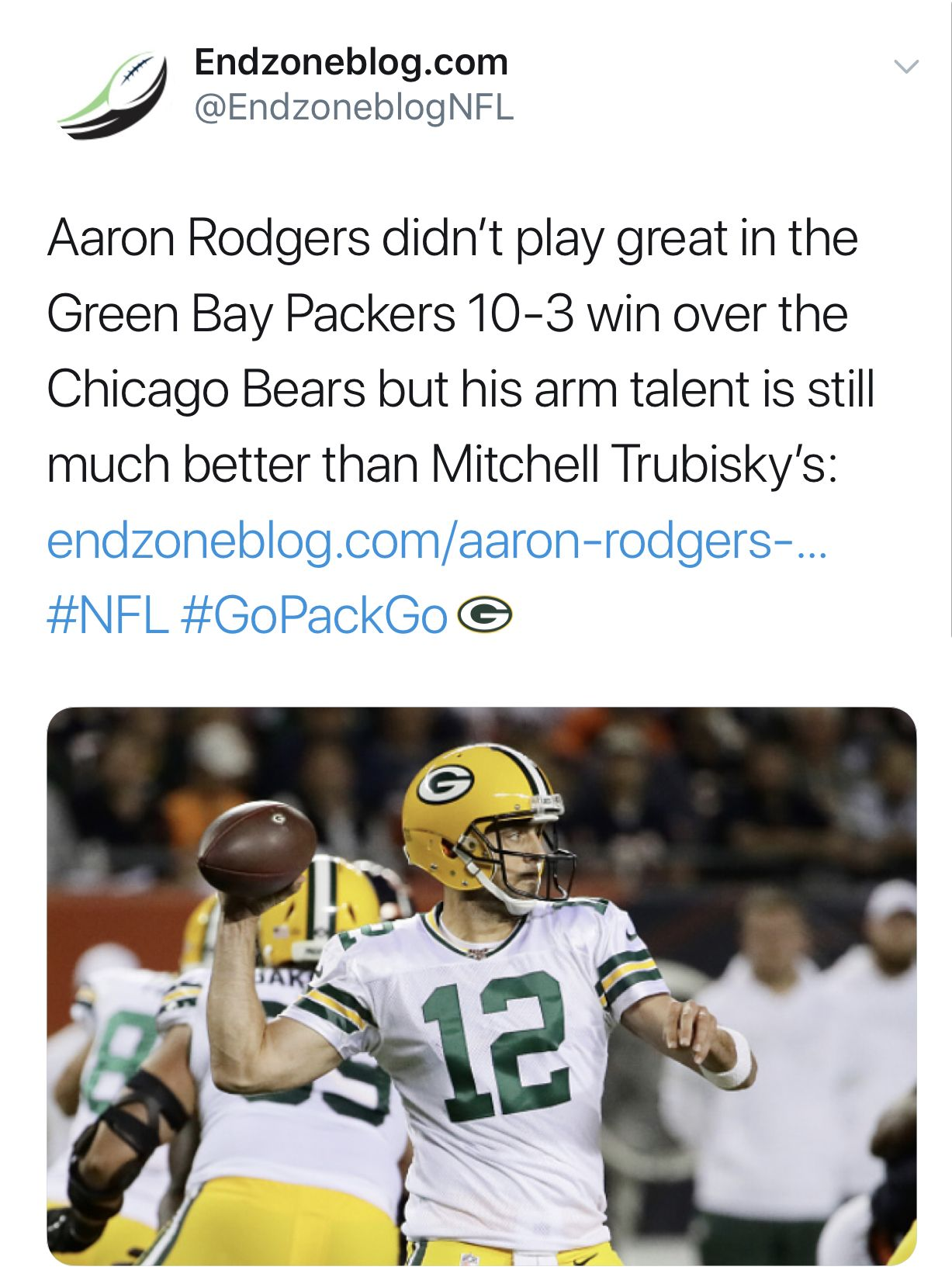 Aaron Rodgers Didn T Play Great But His Arm Talent Is Much Better Than Trubisky S Aaron Rodgers Green Packers Football Streaming