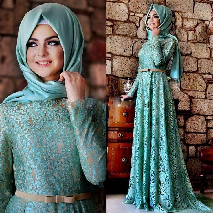 3 Colors Lace Muslim Evening Dresses Floor Length Full Sleeves Sash Long  Evening Dresses Hijab Vestido De Festa Elegant ZED72-in Evening Dresses  from ... 1dc3df82dc13