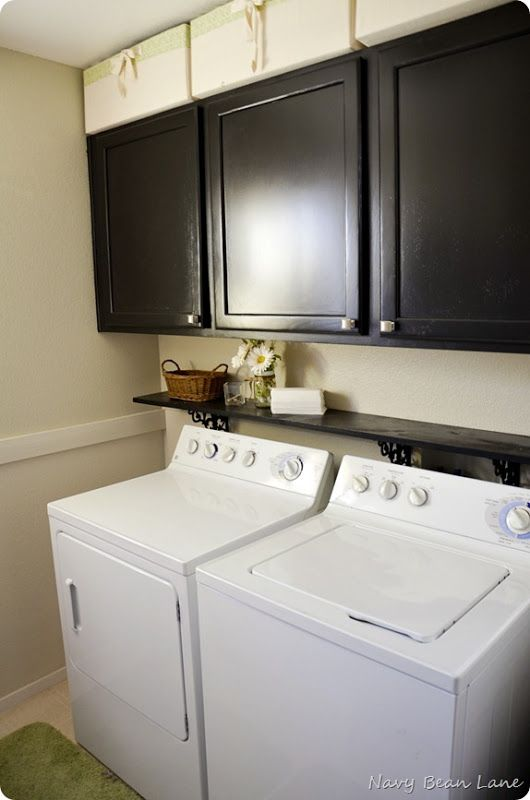 Add A Small Shelf Above Washer And Dryer Also Matching