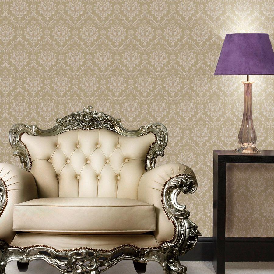 European Style Beige Embossed Wallpaper 3d Nonwoven Paper Wallpaper ...