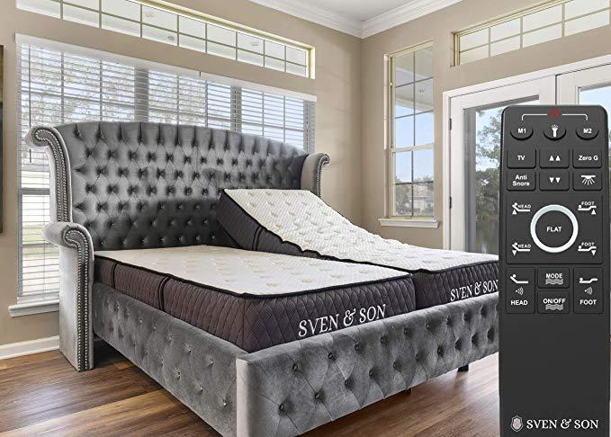 "Bed Base Frame (Head Tilt) + 12"" Luxury Cool Gel Memory"