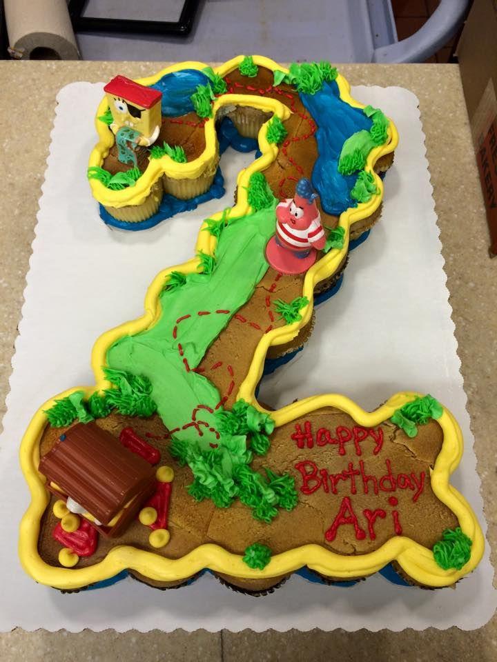 Spongebob Cupcake Cake For 2 Year Old Birthday Cake