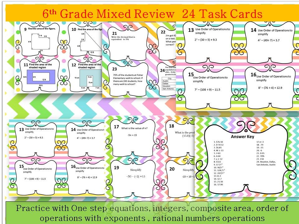 6th Grade Review Task Cards One Step Equations