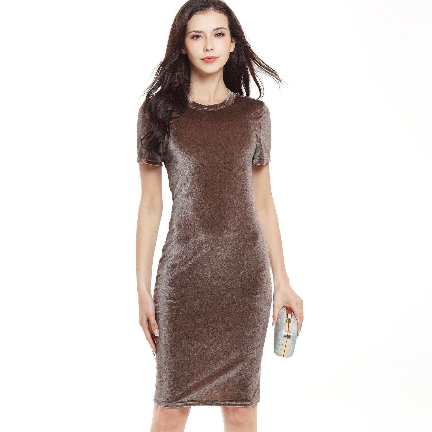 Womens swan gold velvet round neck short sleeve pencil dress