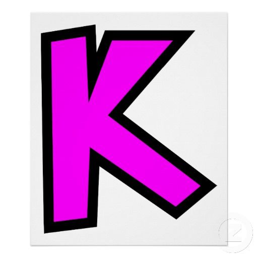 Simple Letter K  Simple Block Monogram Capital Letter K In Pink