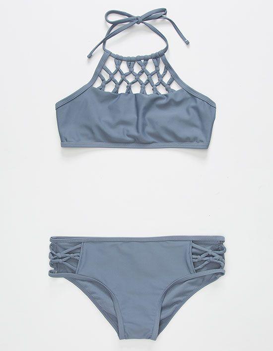 2e36b27db0 Damsel bikini set. Unpadded high neck macramé halter top with tie behind  neck. Hipster bottoms with macramé side panels. Unpadded. 82% nylon 18%  spandex.
