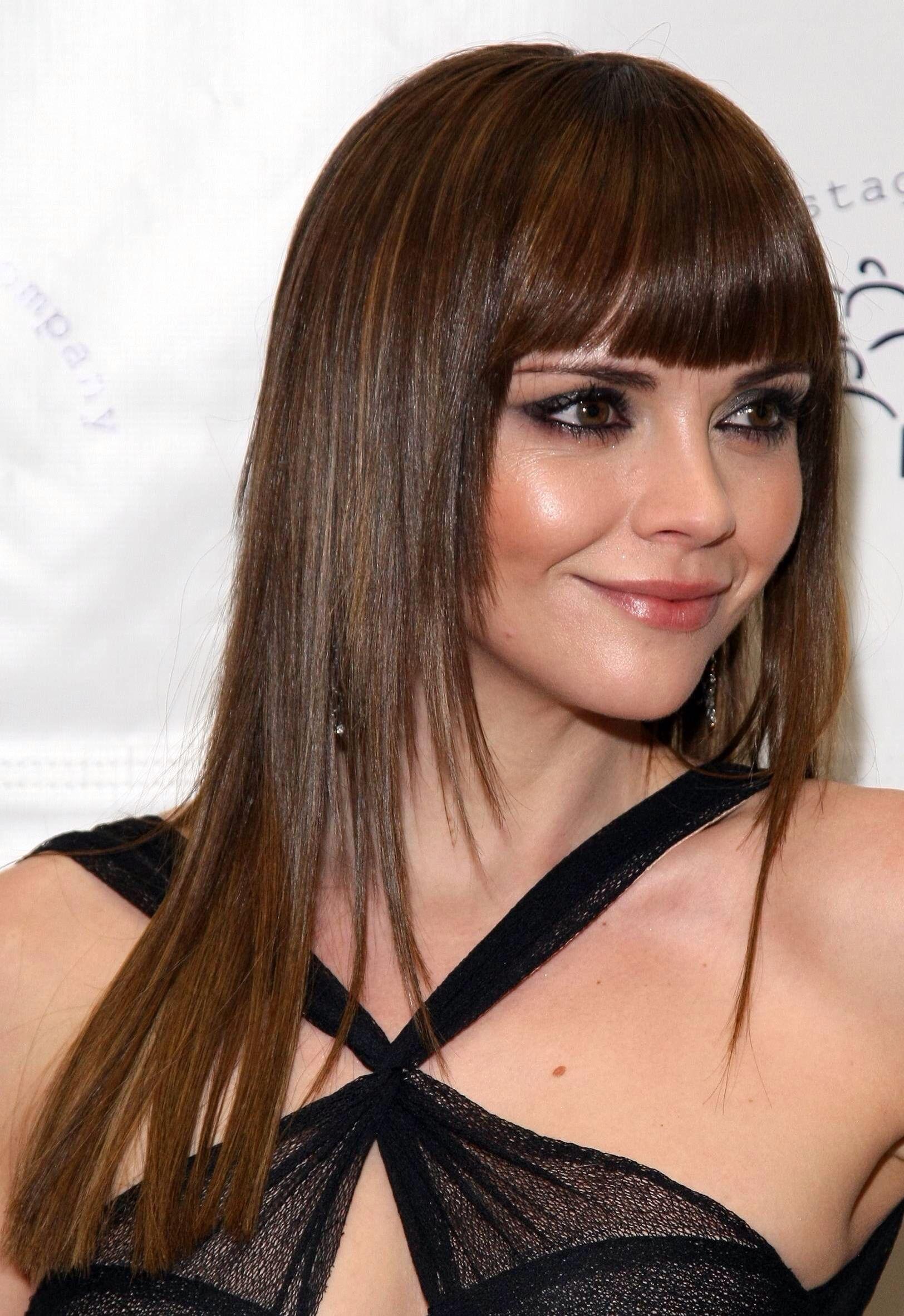 Bangs Above Eyebrows And Layered Haircut Womens Hairstyles Hair Styles Long Hair Styles