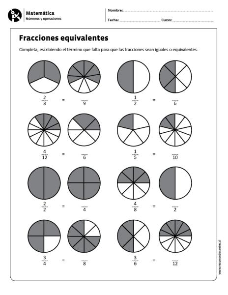 Fracciones Equivalentes Fracciones Equivalentes Ejercicios Fracciones Para Primaria Matematicas Fracciones