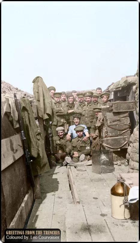 "Troops of ""C"" Company, 1/2nd Battalion, Monmouthshire Regiment in their trenches in the Bizet area, April 1915, shortly before the battalion moved up to participate in the Second Battle of Ypres, where it suffered heavy casualties.  Byrde, Evelyn H. (Photographer) (Source - © IWM Q 107840)"
