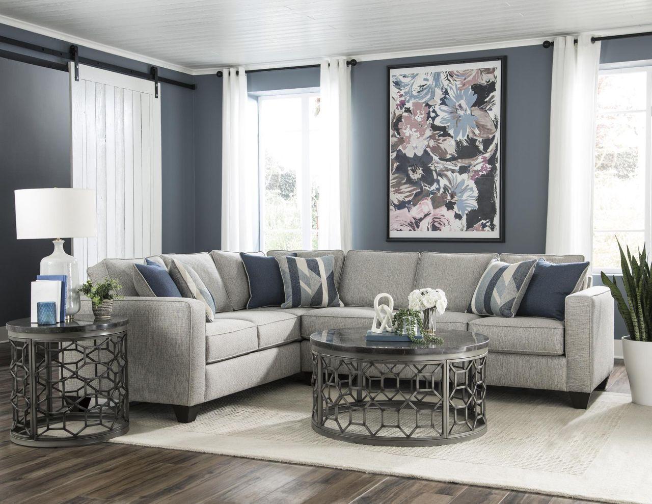 Albany Crypton Slate Sectional Sofa Grey Sofa Living Room