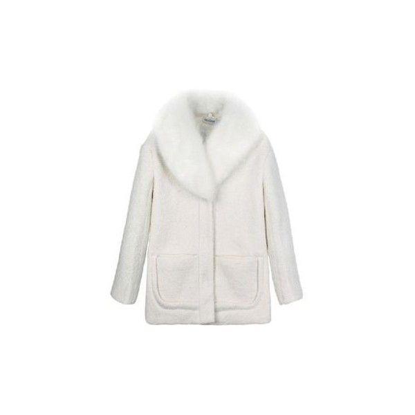 Fur Lapel Slim Wool White Coat ($92) ❤ liked on Polyvore