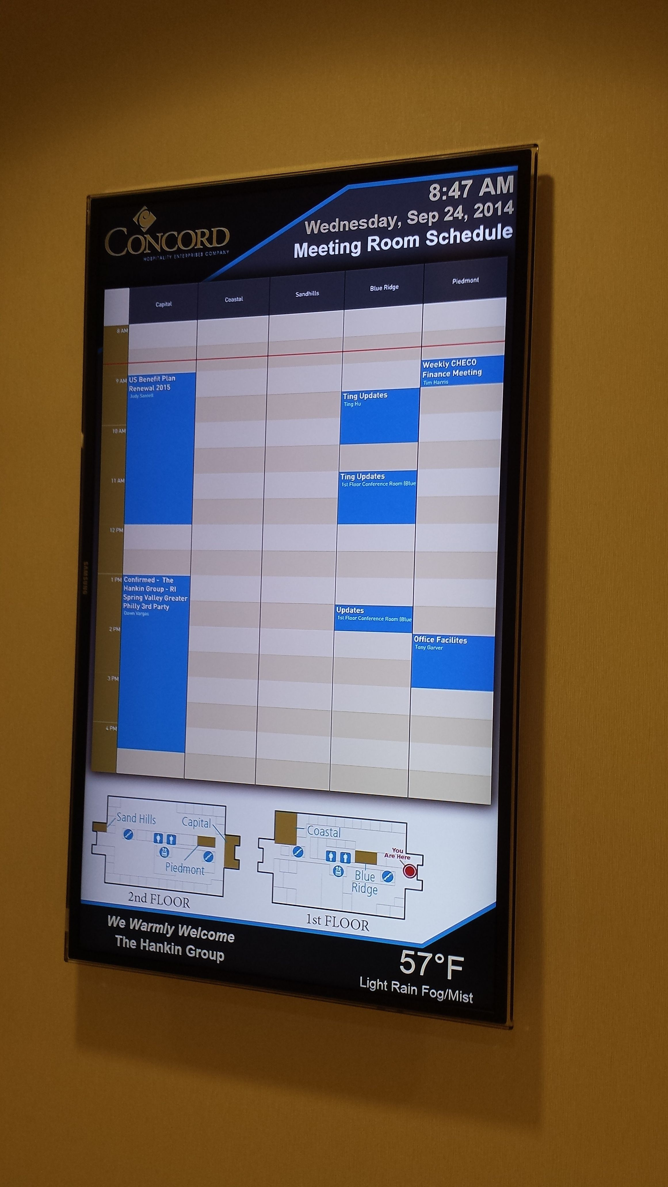 Concord Hq Digital Display Meeting Room Schedule Running Osi Ddf With Ms Exchange And Visitor