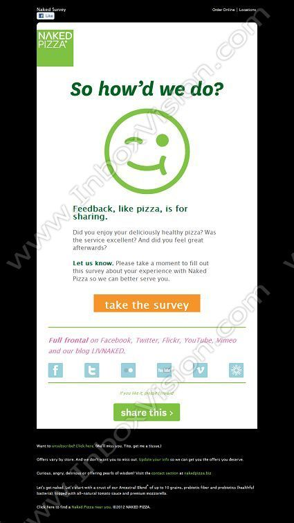 Company Naked Pizza Subject Feedback, like pizza, is for sharing - feedback survey template