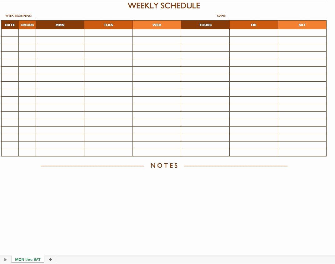 30 Monday Through Sunday Schedule Template in 2020