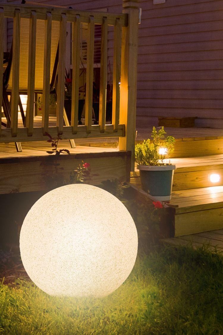 Leuchtkugel Gartenleuchte Stono 40 Ip65 Inkl E27 Led Osram 10w Und 3m Kabel O 40cm Leuchtkugeln Garten Gartenbeleuchtung Solarleuchten Garten