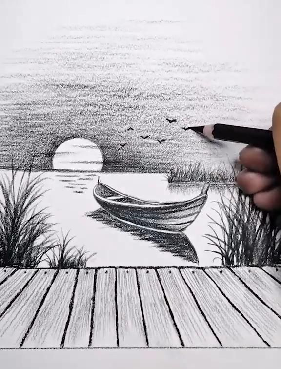 Easy Sunset Pencil Drawing Tutorial