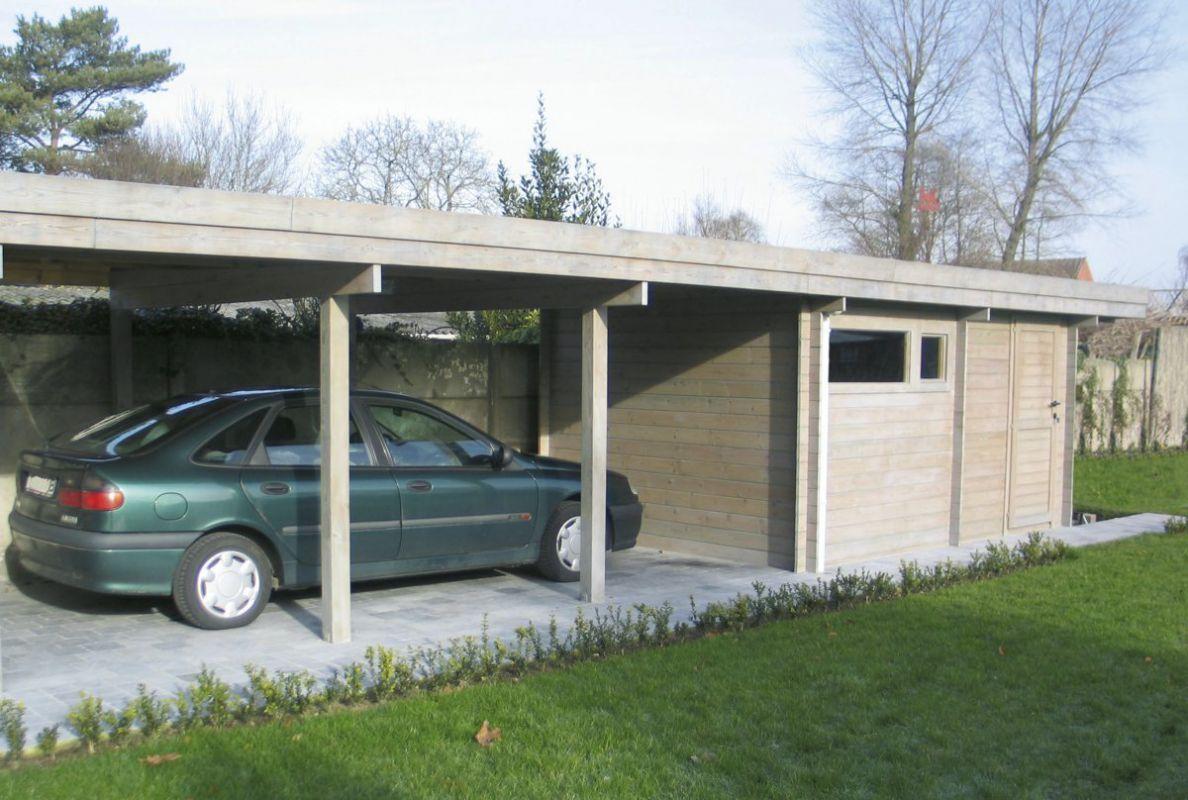 Carport indépendant en bois, avec toit plat et abri de