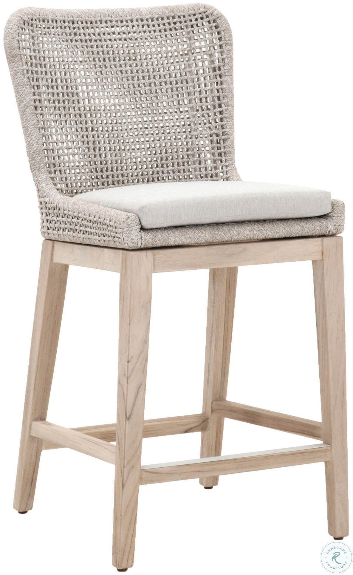Woven Gray Mesh Outdoor Dining Chair Set Of 2 In 2021 Counter Stools Wicker Bar Stools Rattan Counter Stools