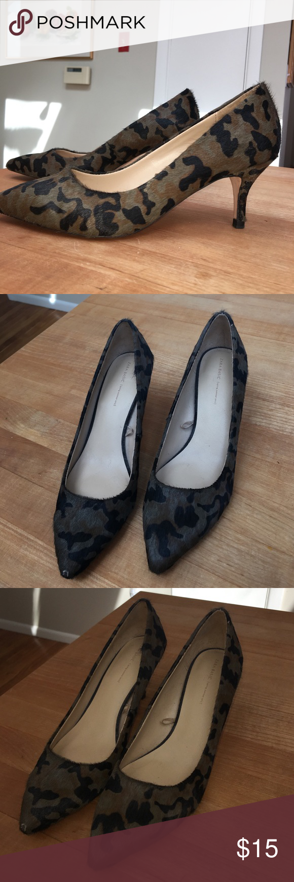 Zara Camo kitten heels Zara Camo heels in a faux animal hair. From the spring/summer 2013 collection. Slight wearing on the toe of the right foot as pictured, but barely noticeable (price will reflect). Kitten heel measures 3 inches. Size 38. Zara Shoes Heels