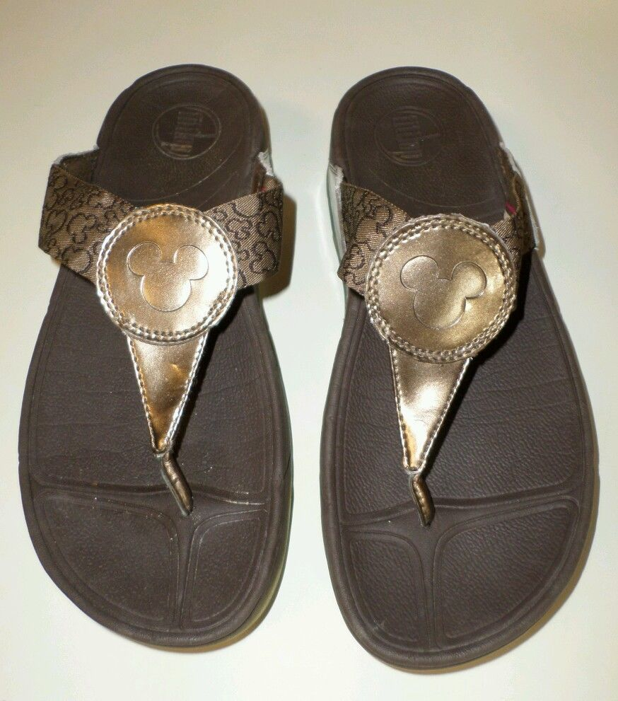f9c75b6ee16 MICKEY MOUSE FitFlop FLIP FLOPS Womens Size 8 Bronze Brown DISNEY Sandals  Shoes