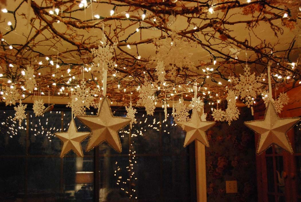 Sunroom Ceiling Covered With Branches Lights And Stars Gorgeous