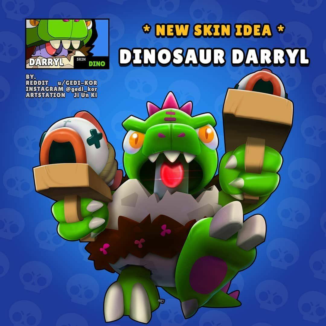 Brawl Stars Dinosaur Darryl Darryl Skin Idea Bravl Stars Dinozavr Derill Ideya Skina Derilla V 2020 G Idei Dlya Igry Igrovye Plakaty Zvezda Oboi