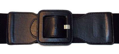 Square Elastic  Cinch Belt, Black Faux Leather