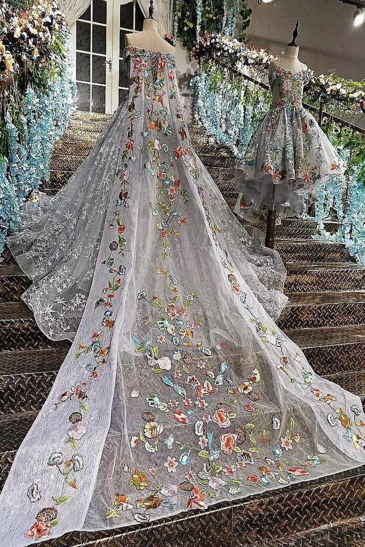 25+> Real Photo 2017 Grau Hochwertige Luxus Spitze Applique Brautkleid ... #spitzeapplique