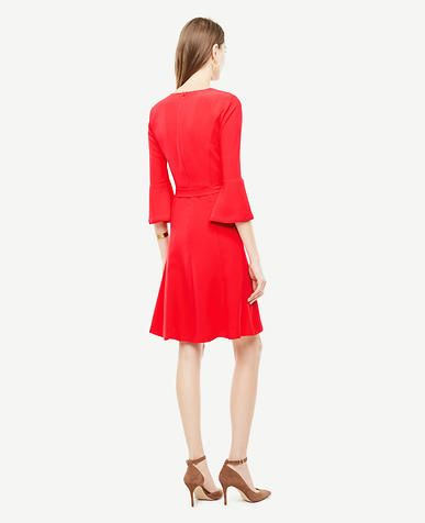 Image of Fluted Sleeve Flare Dress