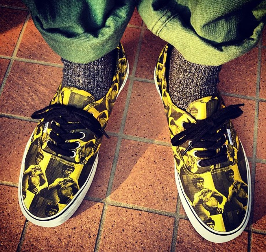 Bruce Lee Custom Hand Painted White Converse Canvas High Top
